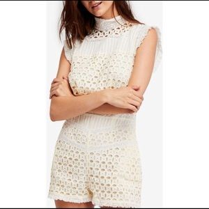 Free People Victoria Lace Cotton Romper Eyelet
